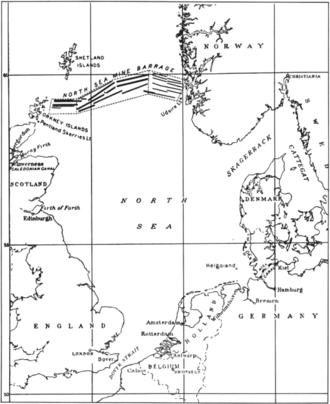 North Sea Mine Barrage - Image: North Sea Mine Barrage map 1918