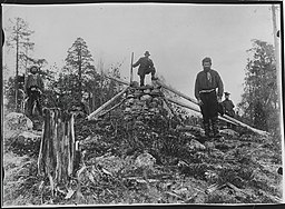 Treriksröset på Krokfjell.   Foto taget af Ellisif Wessel omkring århundredeskiftet 1800/1900