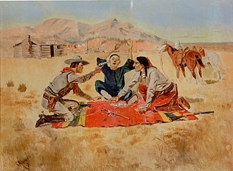 """Asian immigration to the United States - An 1894 painting entitled """"Not a Chinaman's Chance"""" by white American artist Charles Marion Russell, which depicted violence in the American West against Chinese immigrants."""
