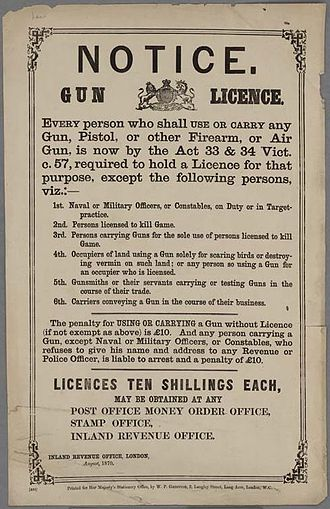 Firearms policy in the United Kingdom - Gun licence notice from 1870