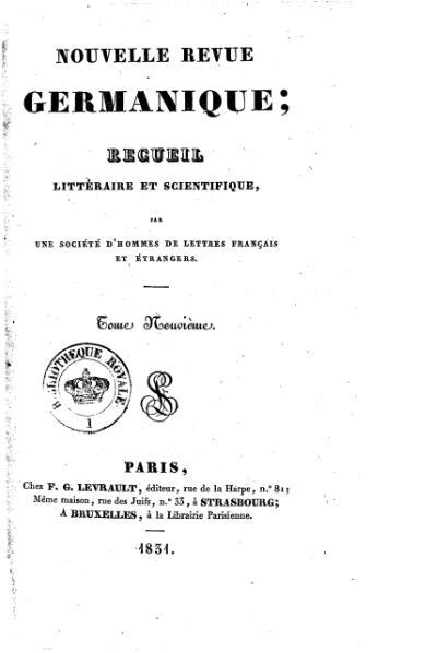 File:Nouvelle revue germanique, tome 9, 1831.djvu