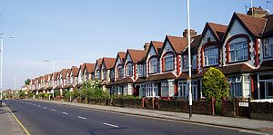Tract housing - Terraced houses in 20th-century style in London.