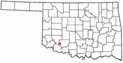 Location of Indiahoma, Oklahoma