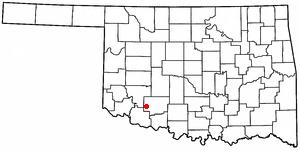 Indiahoma, Oklahoma - Image: OK Map doton Indiahoma