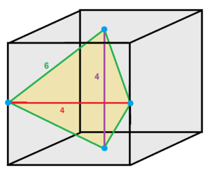 Disphenoid - A space-filling tetrahedral disphenoid inside a cube. Two edges have dihedral angles of 90°, and four edges have dihedral angles of 60°.