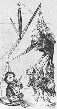 Offenbach and Strauss, 1871 cartoon. Offenbach and Strauss.jpg