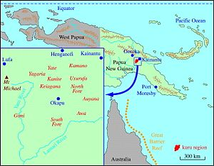 Fore people - A map of Papua New Guinea and the Okapa District. The area highlighted in red consists primarily of the land inhabited by the Fore people.