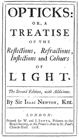 Newtonianism - Title page of Isaac Newton's Opticks