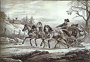 Travelling in a troika (three-horse sled).