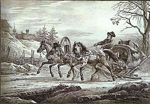 Troika (driving) - Traveler in a Kibitka by Aleksander Orlowski, an 1819 lithograph.