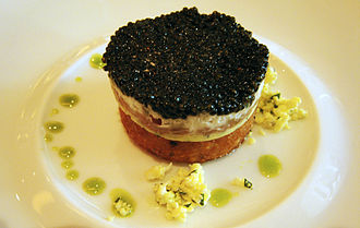 Caviar - Ossetra caviar, salmon creme fraiche, potato shallot croquette, basil oil, egg whites and yolks