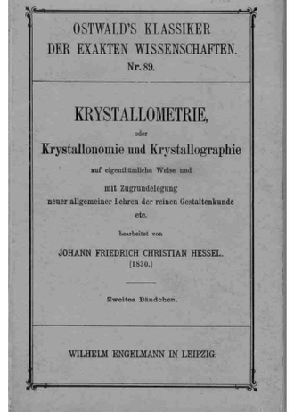 Johann F. C. Hessel - 1897 book in which Hessel's work was re-published
