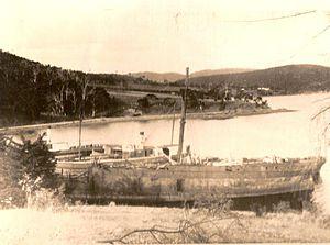Otago, Tasmania - Otago Bay and hulks including the Otago in the early 1950s