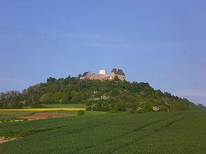 Otzberg - extinct volcano Otzberg and the old fort Veste Otzberg with the white tower
