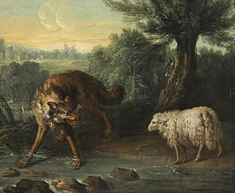 The Wolf and the Lamb - Jean-Baptiste Oudry's oil painting of the fable