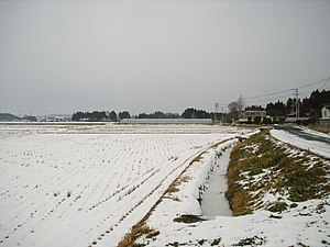 Kurikoma, Miyagi - Rice Field and irrigation canal resting in winter (Dec. 2005)