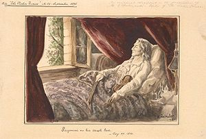 English: Paganini on his death bed. - Watercolor