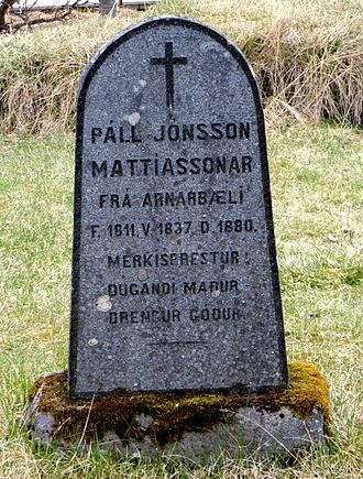 "Icelandic name - A gravestone with a patronymic and avonymic: ""Páll, son of Jón, son of Mattías"""