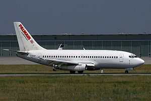 Palmair - A Palmair Boeing 737-200, in old livery, lands at Stuttgart Airport, Germany. (2006)
