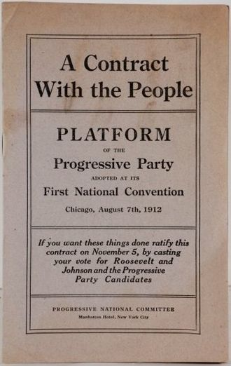 Party platform - Example of a printed platform in pamphlet form: the 1912 U.S. Progressive Party platform