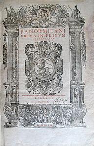 Panormitani prima in primum decretalium Ludguni MDLV.jpg