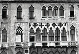 Palazzo Giustinian - Detail of the facade. Photo by Paolo Monti, 1969.