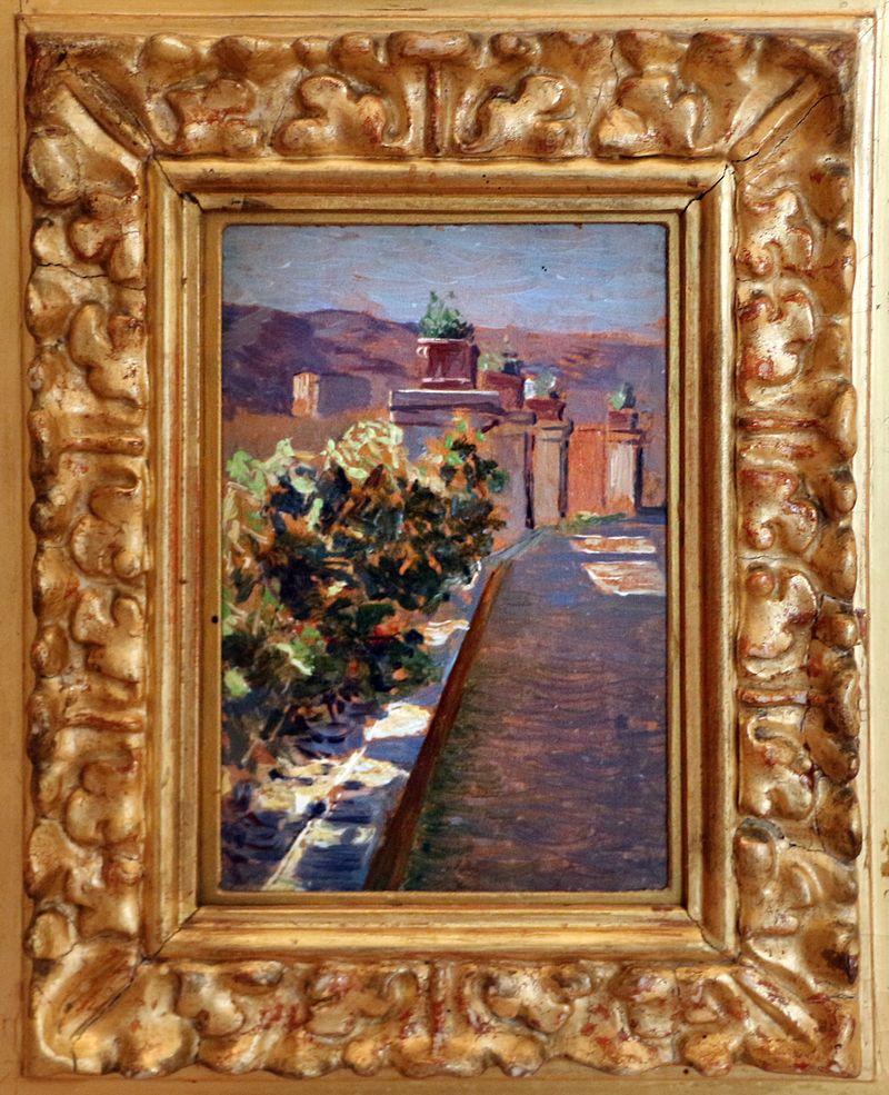 Paolo troubetzkoy, trittico, in porto, sulla terrazza, mercato, 03.jpg