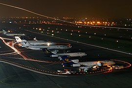 Parked Airliner in Mehrabad International Airport at night.jpg