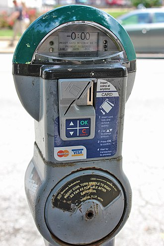 Parking meter - A digital Duncan brand parking meter which accepts coins or credit cards