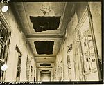 Partly burned wood-lath and plaster ceiling in corridor of Hiroshima University of Literature and Science.jpg