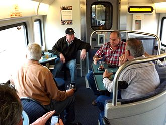 Train - Passengers in the lounge car of an Amtrak California San Joaquin train, California, 2014