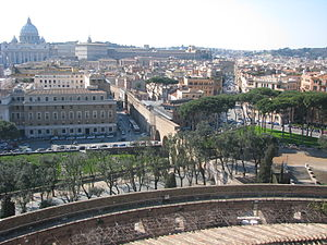 "Passetto di Borgo - Route of the ""Passetto"" from the Vatican (in the background) to Castel Sant'Angelo."