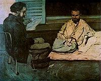 Paul Alexis lisant à Émile Zola, par Paul Cézanne.jpg