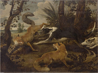 Wolfhounds and Two Foxes