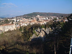 Panorama over Pazin, to the left the Montecuccoli Castle