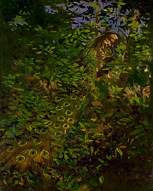 Camouflage - Abbott Thayer's 1907 painting Peacock in the Woods depicted a peacock as if it were camouflaged.