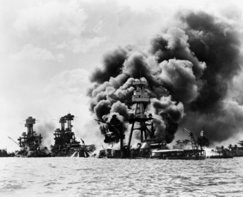 U.S. Navy battleships at Pearl Harbor on 7 Dec...