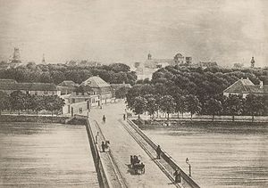 Søgade, Copenhagen - The Peblinge Bridge (now Queen Louise's Bridge) and the section of the Lovers' Path where Søtorvet stands today