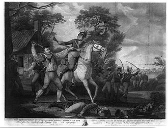 Francisco's Fight - Peter Francisco Fighting Tarleton's Cavalry (1814 engraving)