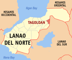 Map of Lanao del Norte with Tagoloan highlighted