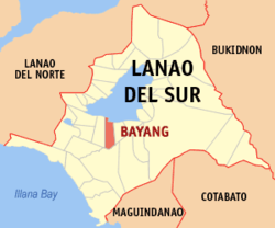 Map of Lanao del Sur showing the location of Bayang