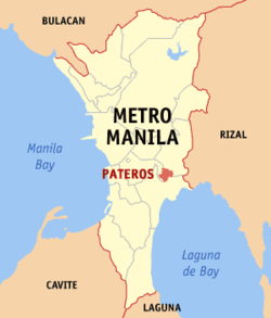 Map of Metro Manila showing the location of Pateros
