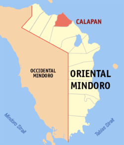 Map of Oriental Mindoro with Calapan highlighted