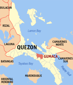Map of Quezon showing the location of Gumaca