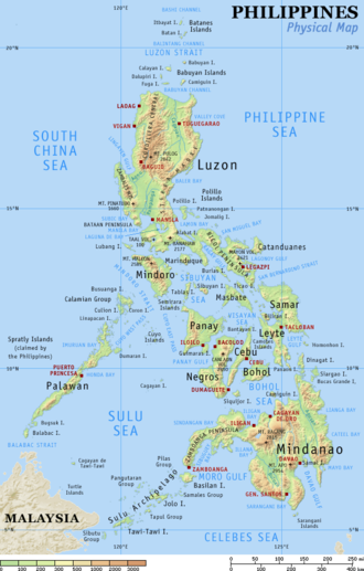 Outline of the Philippines - An enlargeable topographic map of the Philippines