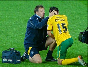 Byron Anthony - Anthony being treated by Bristol Rovers physiotherapist Phil Kite in 2009