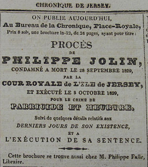 Parricide - Image: Philippe Jolin 3 Octobre 1829 Jersey