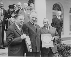 Jesse P. Wolcott - Robert M. La Follette, Jr. (left) and Jesse P. Wolcott (right) receiving the Collier's Congressional Award from President Harry S. Truman (April 17, 1947)