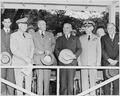Photograph of President Truman with other dignitaries on the reviewing stand during a parade in honor of Armed Forces... - NARA - 200221.tif