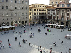 Town square - Piazza della Signoria, in Florence, Italy, a historic example of a traditional public square